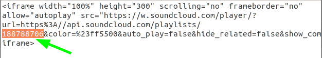 Playlist ID in the code