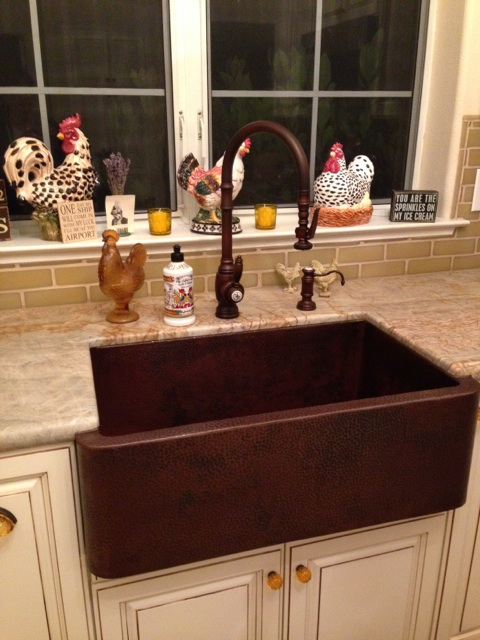 French Country Kitchen With Copper Farm Sink Plumbed