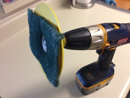 power drill modified to clean shower