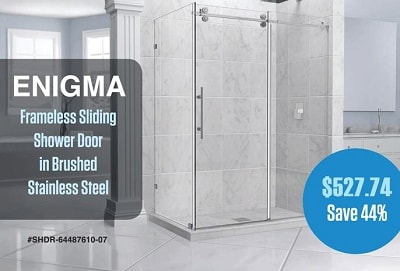 stainless steel DreamLine SHDR-64487610-07 Enigma frameless sliding shower door