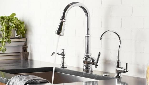 chrome Moen Paterson kitchen faucets installed