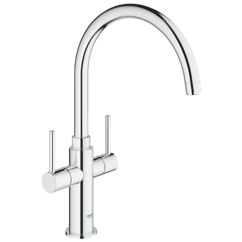 grohe ambi cosmopolitan monobloc two handle kitchen sink mixer chrome 30190 000