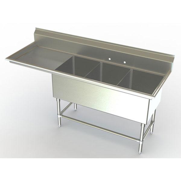 triple bowl commercial sinks