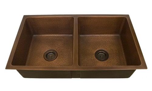 copper undermount double bowl kitchen sinks