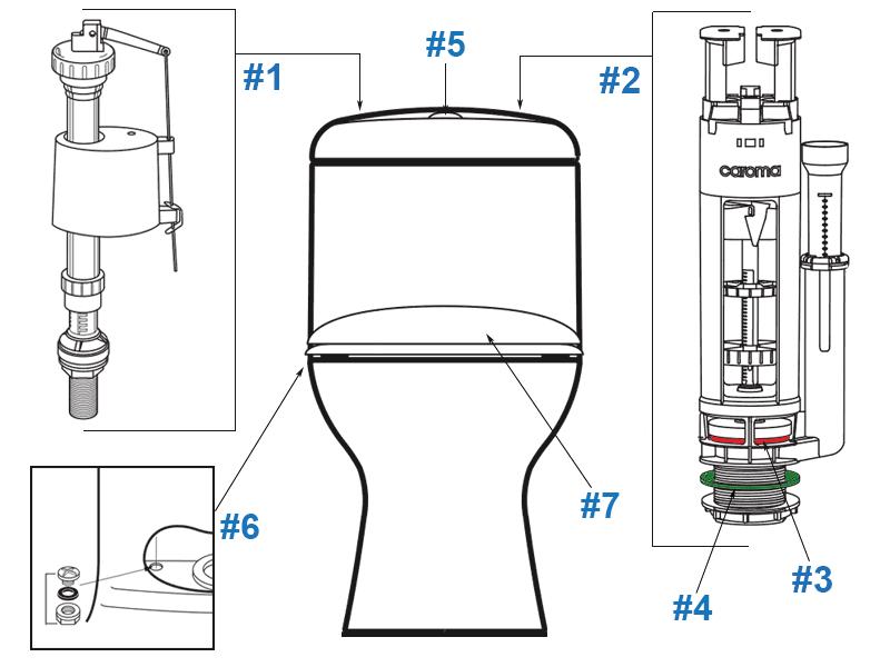 Caroma Dual Flush Toilet Spare Parts