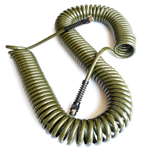 Coiled garden hose in olive green