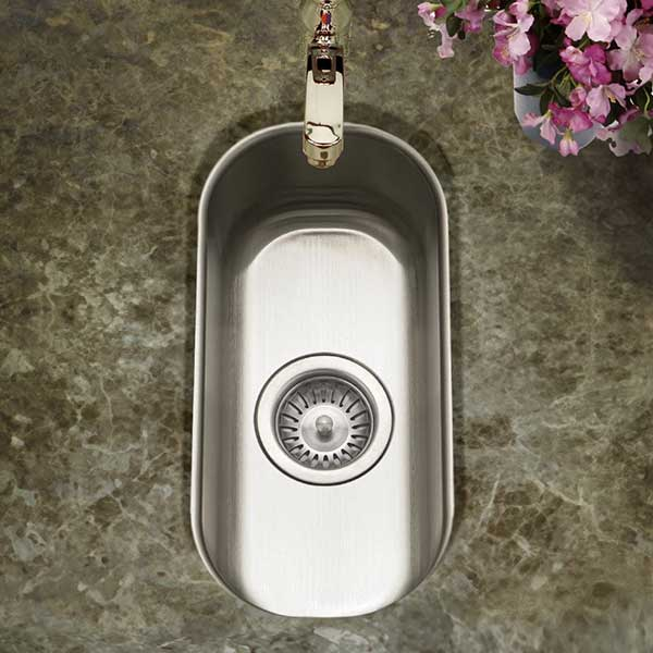 oblong stainless steel undermount bar prep sink
