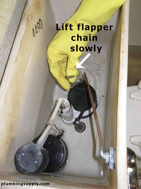 how to lift the flapper to allow water out when uncloging the toilet