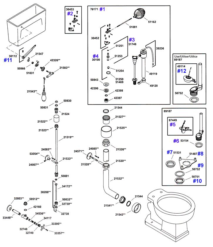 kohler vintage series toilet repair parts