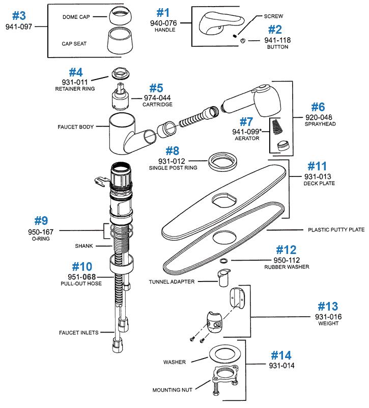 price pfister kitchen faucet parts