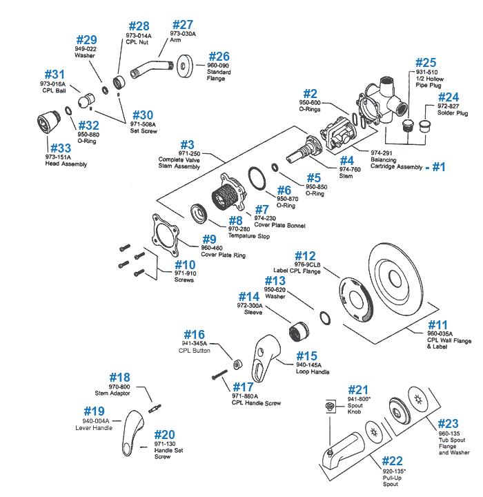 single handle tub shower parts