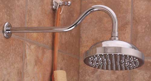 """Elephant"" style shower head is huge and luxurious. We love it!"