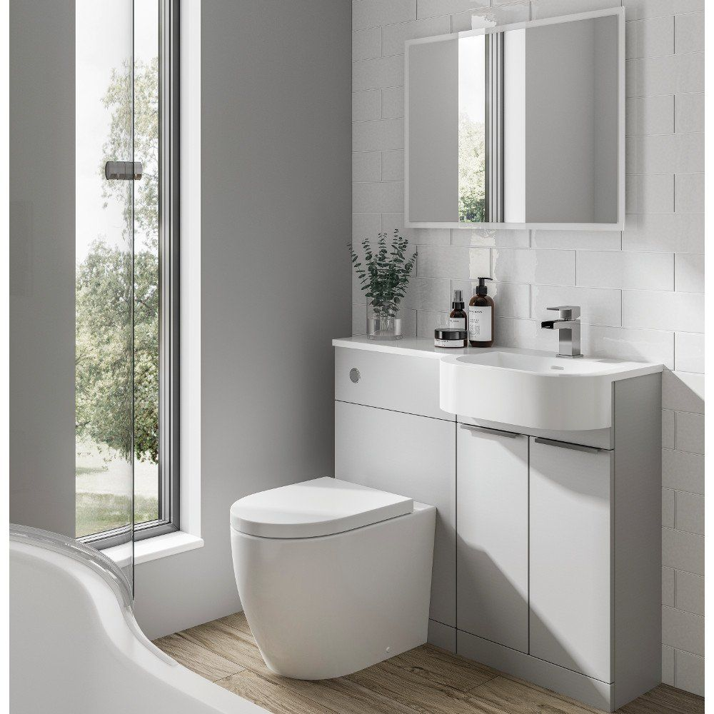 elation combination 1010mm p shaped basin vanity unit with wc right hand pearl grey matt
