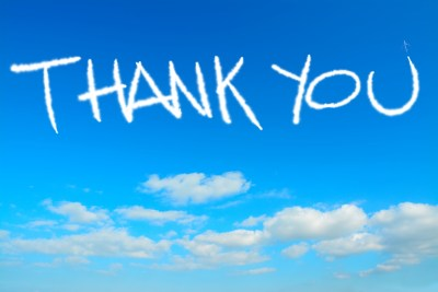 thank you written in the sky