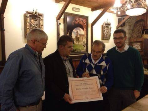 Entrega del Premio: Toño Criado, Mario Tascón, José Luís Prada, Juanma G. Colinas