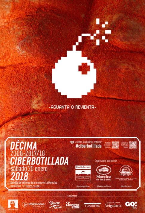 Cartel botillada de la décima Ciberbotillada, de Plumilla Berciano