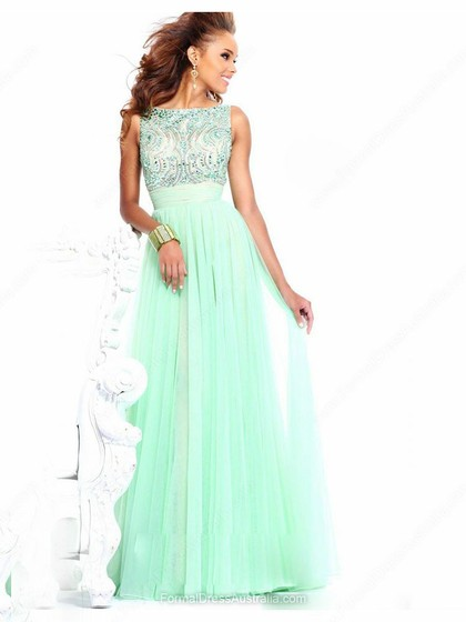 A-line Tulle Bateau Beading Floor-length Formal Dresses