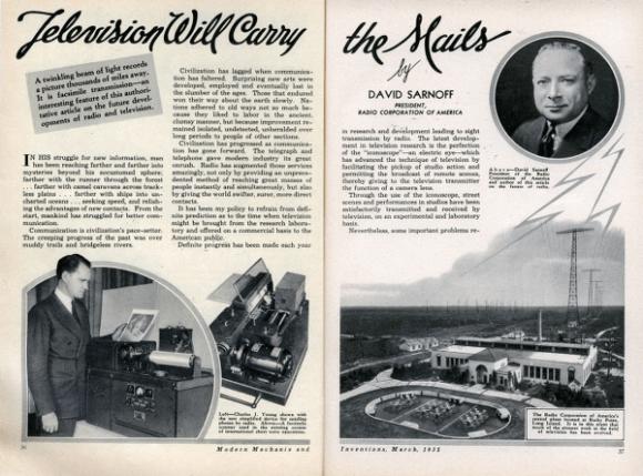 L'articolo a pagina 36 e 37 di Sarnoff su Modern Mechanix del marzo 1935