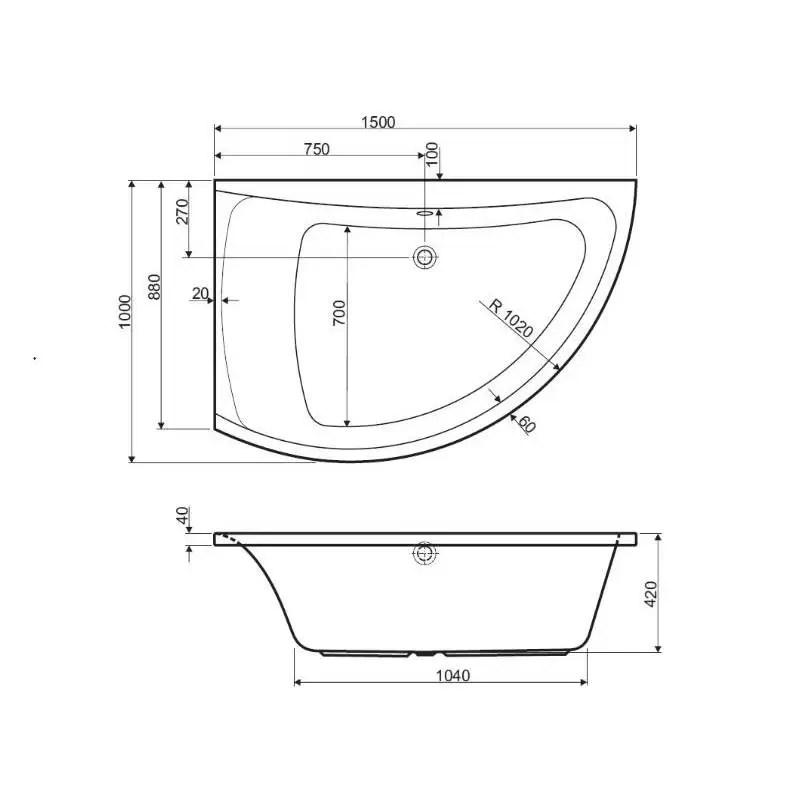 baignoire d angle asymetrique versions