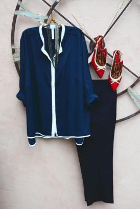 Longbluse und Plus-Size-Hose von sheego Class I Slingback Pumps von Simplybe I Kette von forever21