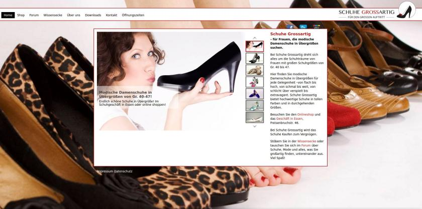 Damenschuhe in Übergrößen I Screenshot der Website & Shop Schuhe Grossartig