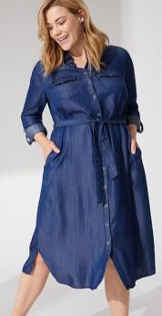 Hemdblusenkleid in Jeansoptik | Samoon