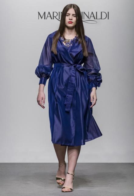 Trenchcoat-Dress | Königsblau mit transparenten Ärmeln | Kollektion Marina Rinaldi