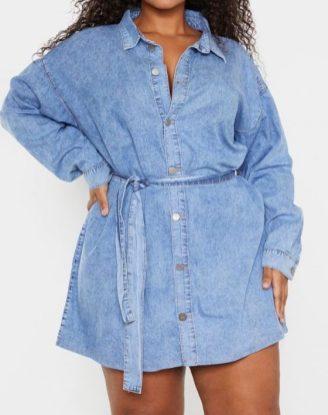 Kurzes Blusenkleid in Jeansoptik