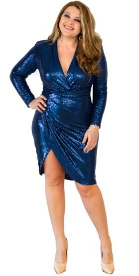 Auch das ist Plus Size Mode: Glamourös mit Curolik | Figurbetontes Kleid für Curvys in Royal