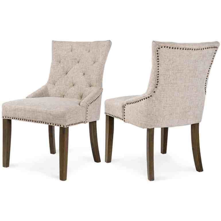 Merax Dining Chair Leisure Padded Chair with Armrest, Nailed Trim, Beige, Set of 2