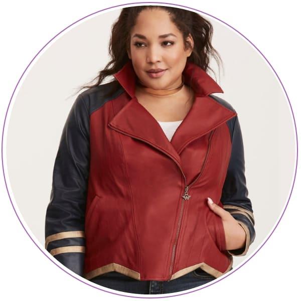 Plus Size Wonder Woman Moto Jacket