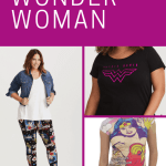 Collage of photos of Wonder Woman clothing