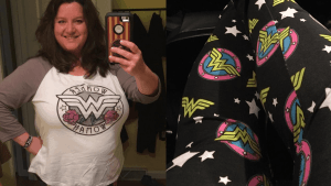 Plus Size Wonder Woman leggings and baseball t-shirt