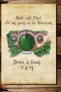 Card illustrated with the front door to Bag End