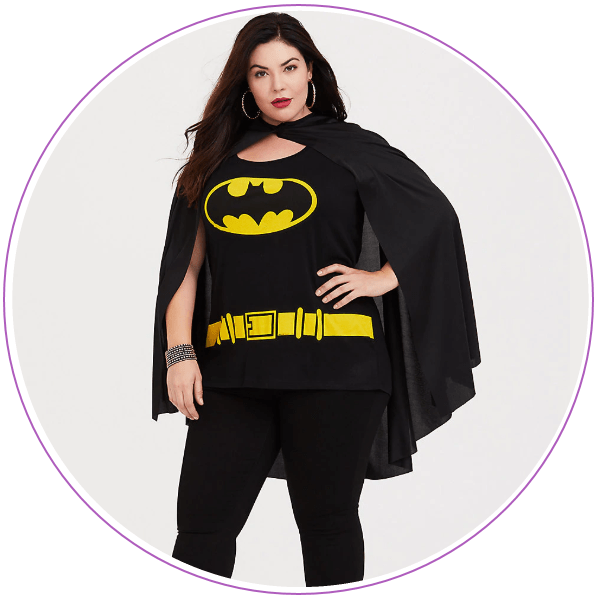 Woman wearing batman t-shirt and black cape
