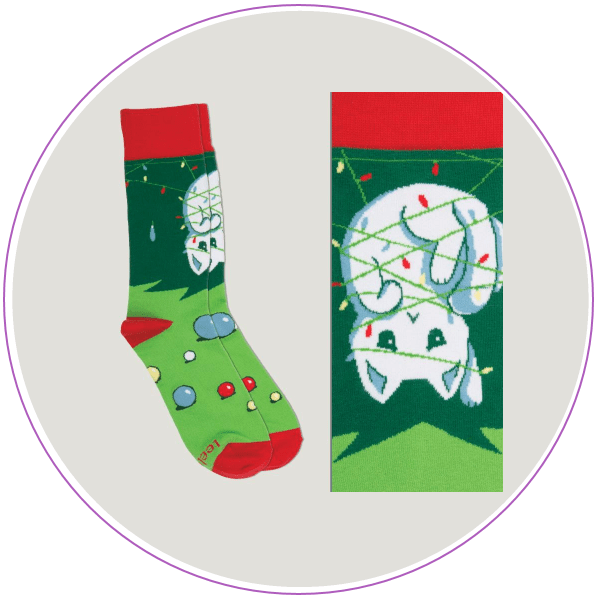 Picture of Christmas socks featuring a cat