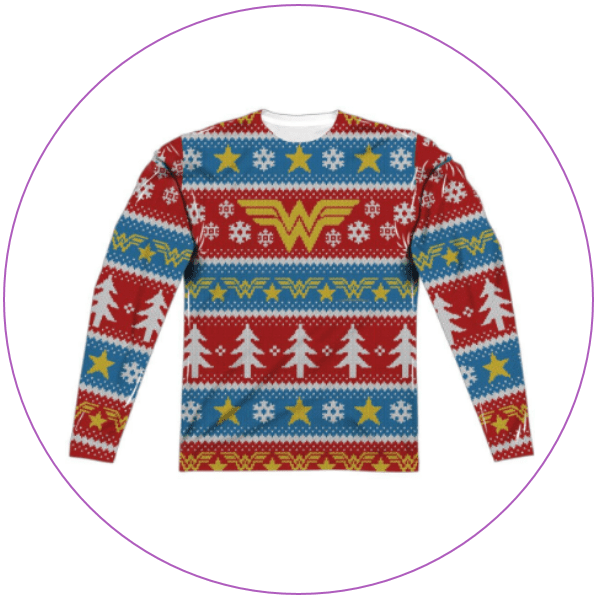 Ugly Christmas sweater with Wonder Woman symbol