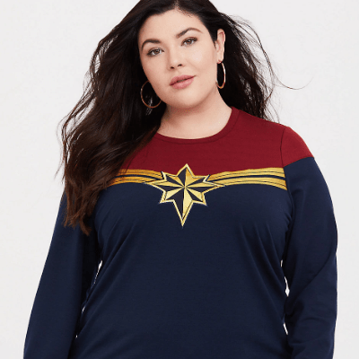 Plus Size Captain Marvel sweatshirt.