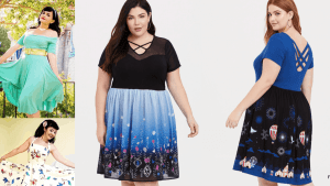 Collage of women wearing plus size Disney dresses