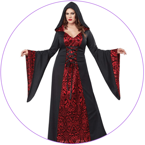 Plus Size Witch Costume - Red Robes