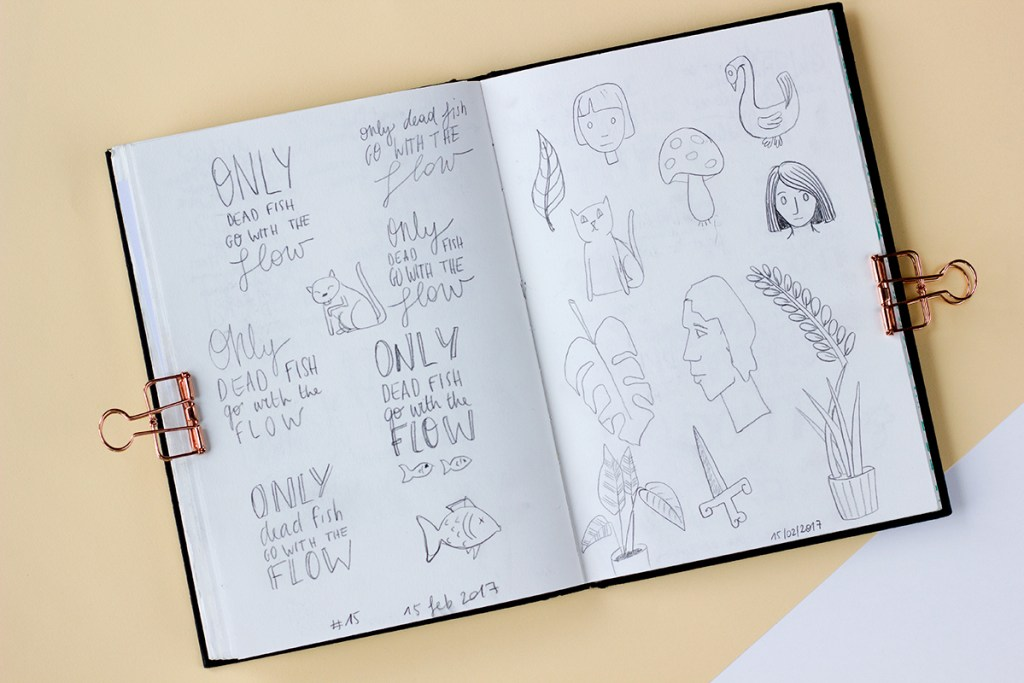 A page from my sketchbook during the 30 Days of Lettering challenge