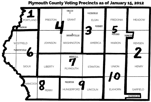 Map of Plymouth County, Iowa's voting precincts