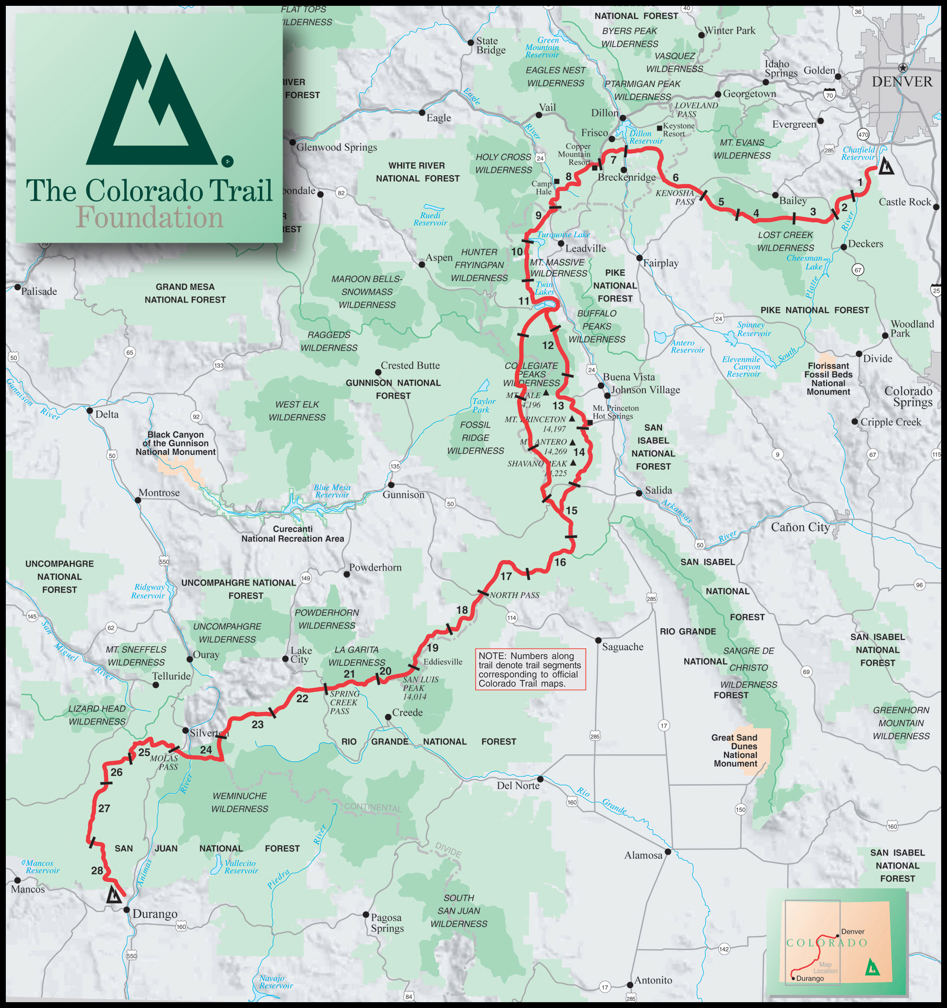 The Colorado Trail Map From The Colorado Trail Foundation.