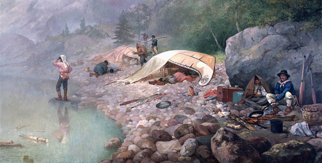 "Voyageurs at Dawn, 1871 by Frances Anne Hopkins. The Voyageurs had a certain ""je nai se quoi"" more so than I however..."