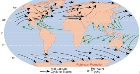 Distribution of Temperate Cyclones