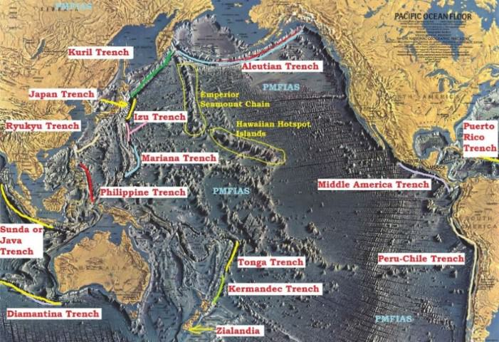 Pacific Ocean relief trenches