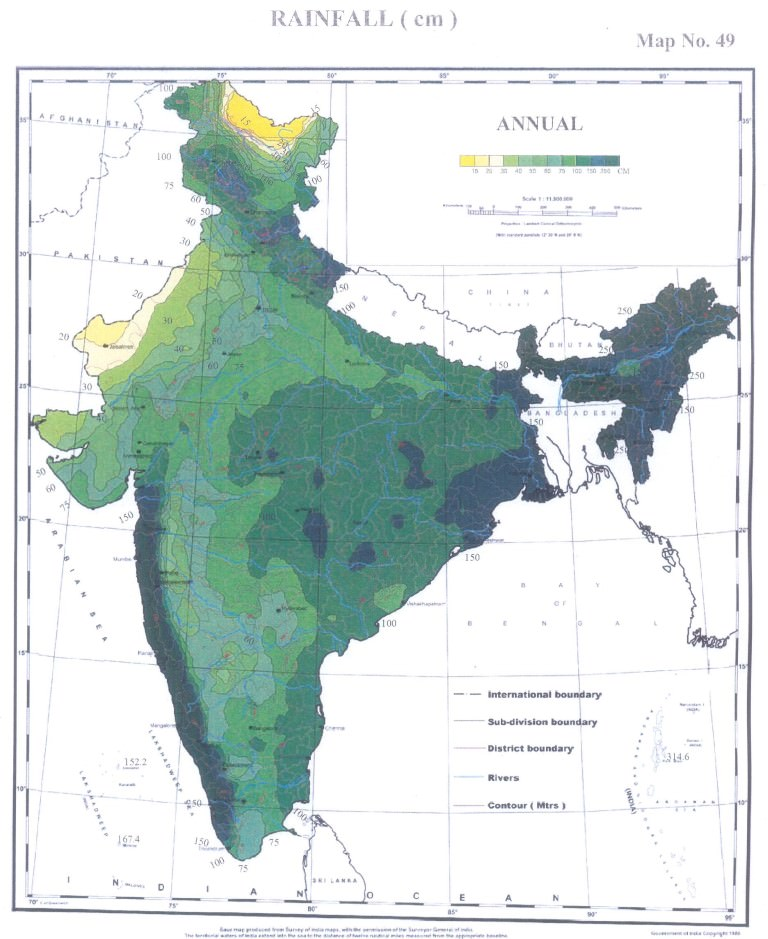 annual rainfall india
