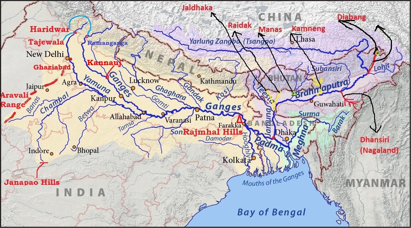 ganaga river system - tributaries ganga yamuna
