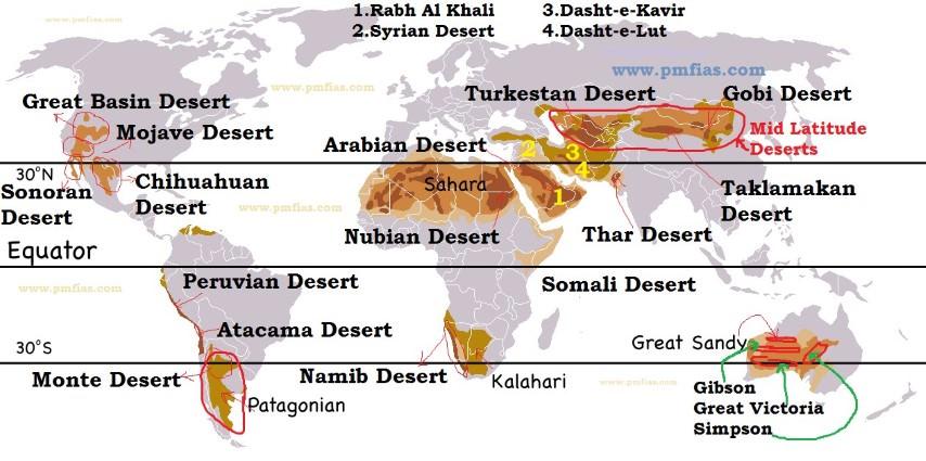 major deserts map