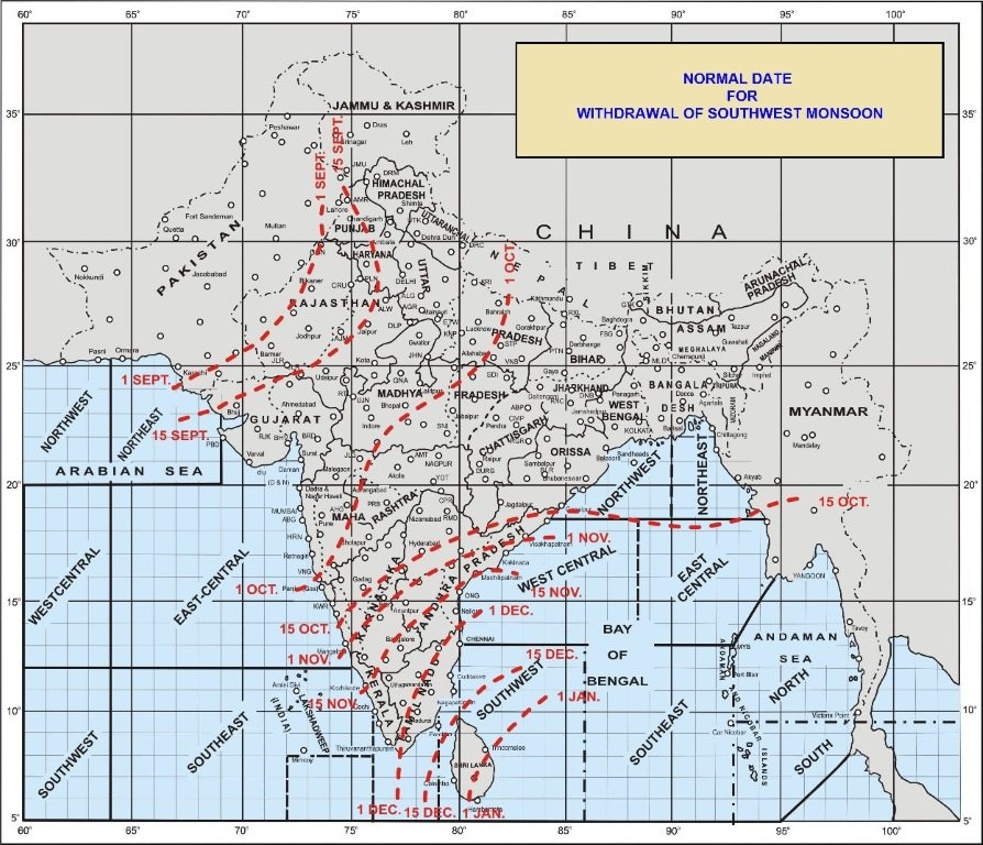 withdrawal of south west monsoon